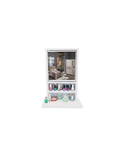 First Mobilya First Mobilya - Karanfil 1K - Aynalı - Çok Amaçlı - Aksesuar - Takı Dolabı-Beyaz Beyaz